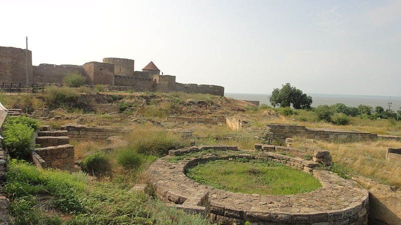 The ruined city of Thira in front of the fortress